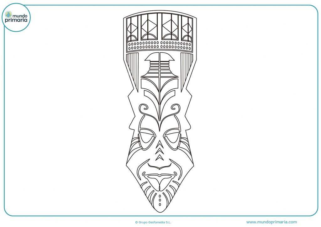 Dibujo para colorear una máscara de África