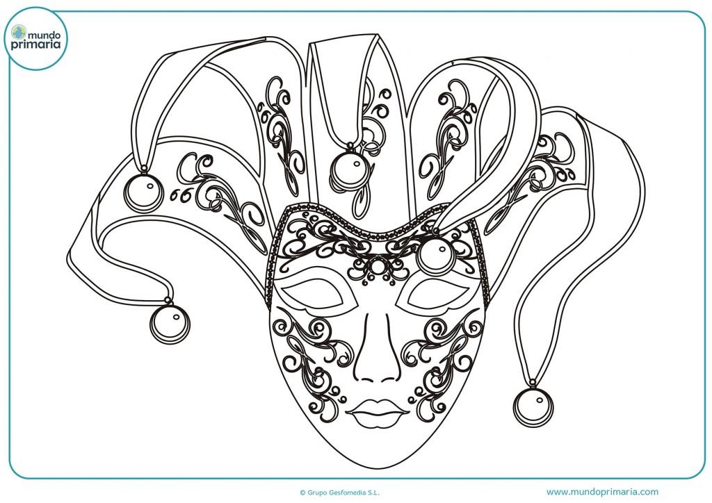 Colorea la máscara carnavalera para niños