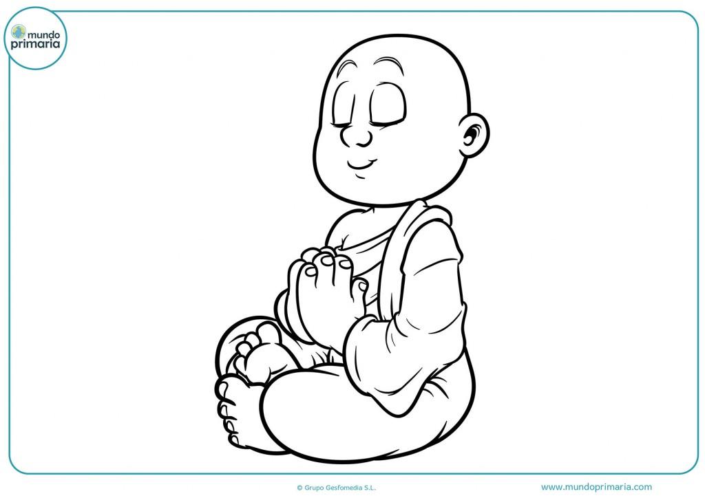 Colorea el dibujo de un monje meditando