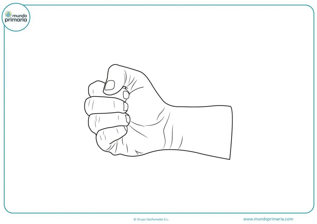 Imagen de un puño cerrado para colorear