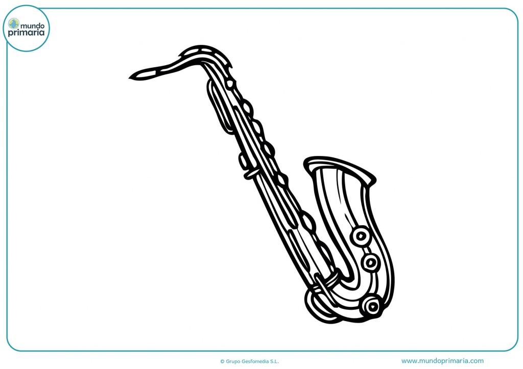 Colorea el saxofón antiguo para niños infantil