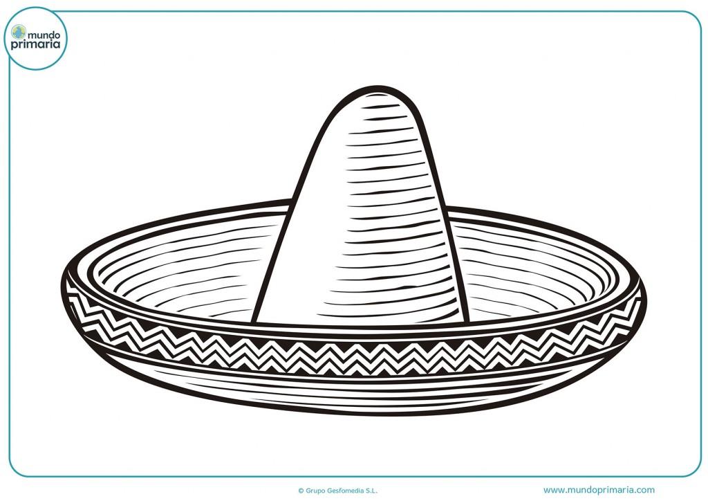 Descarga y pinta el sombrero mexicano para infantil