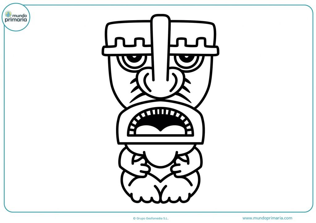 Imagen de un tótem con la boca abierta para colorea