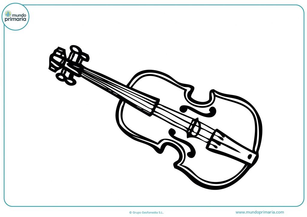 Colorea este violín clásico con colores básicos