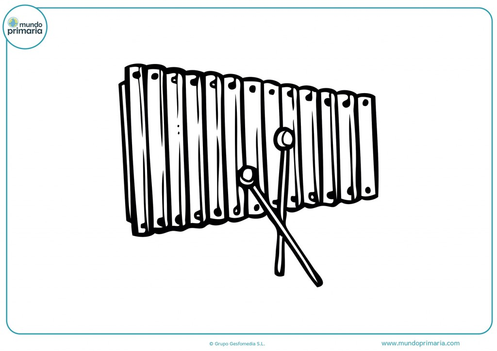 Colorea el xilófono y completa el dibujo