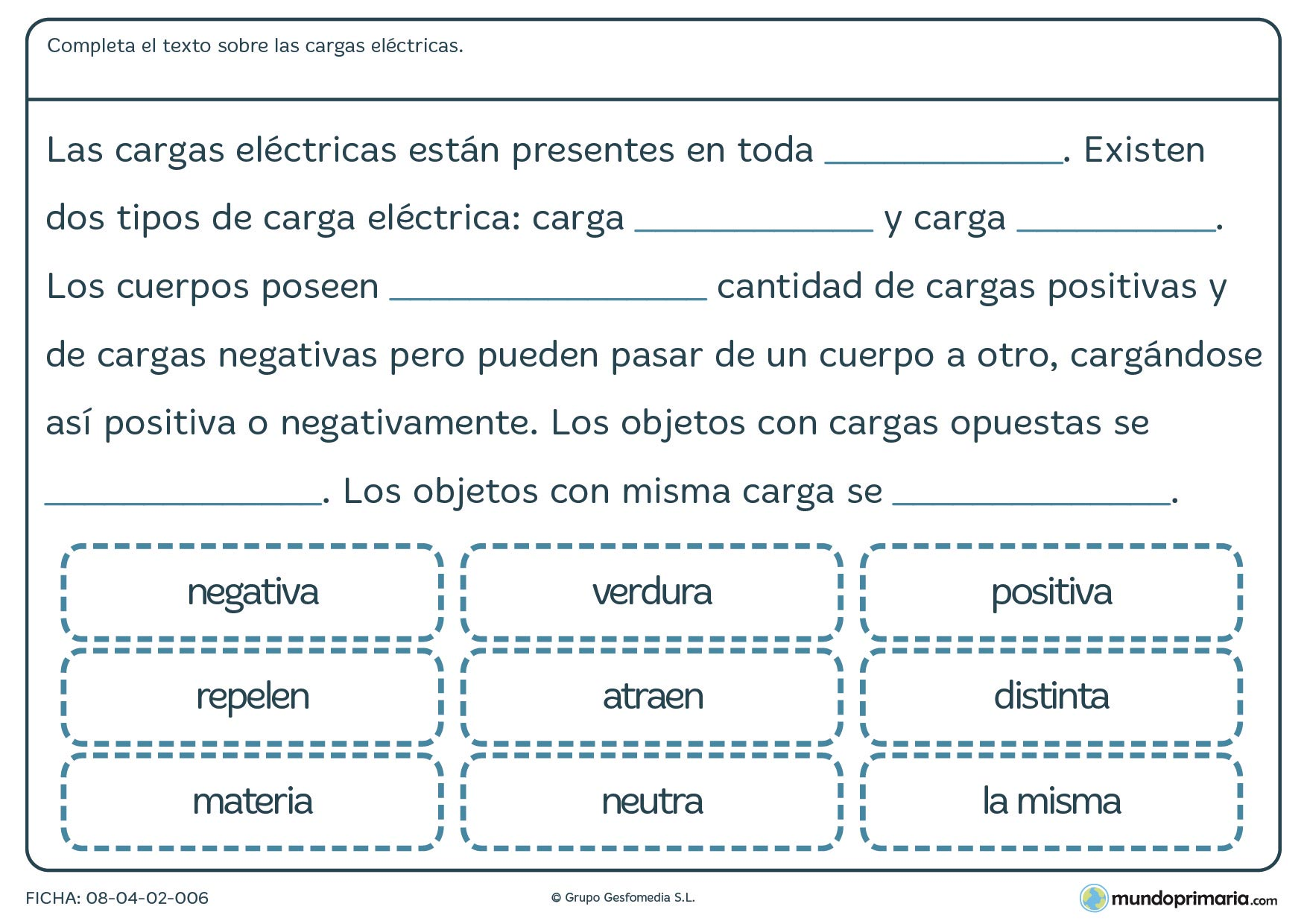 Ficha sobre las cargas eléctricas para primaria