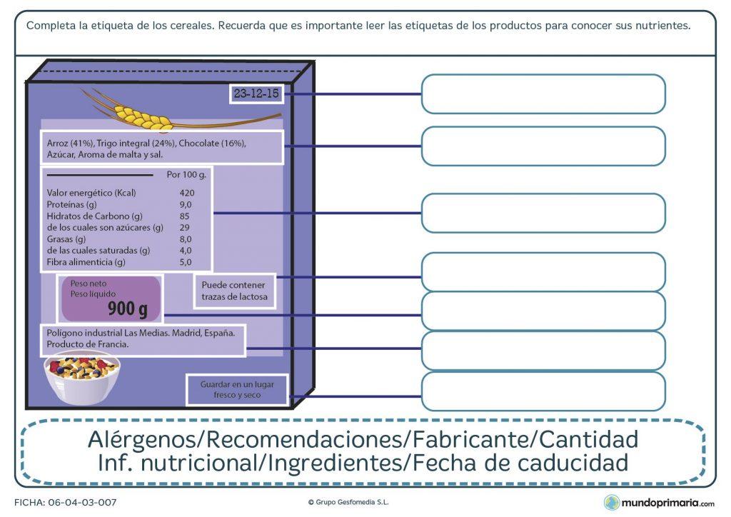 Ficha de completar la caja de cereales para primaria