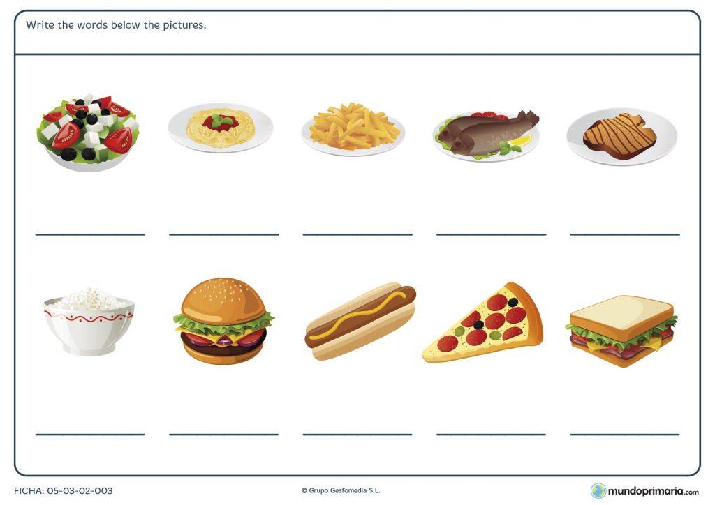 Ficha de alimentos para primaria