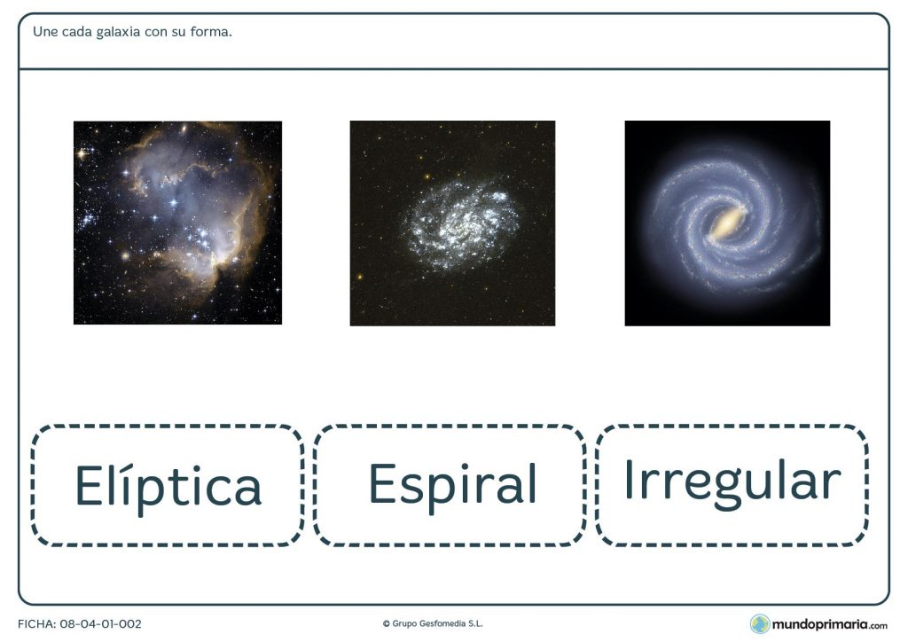 Ficha de aprender a diferenciar cada galaxia