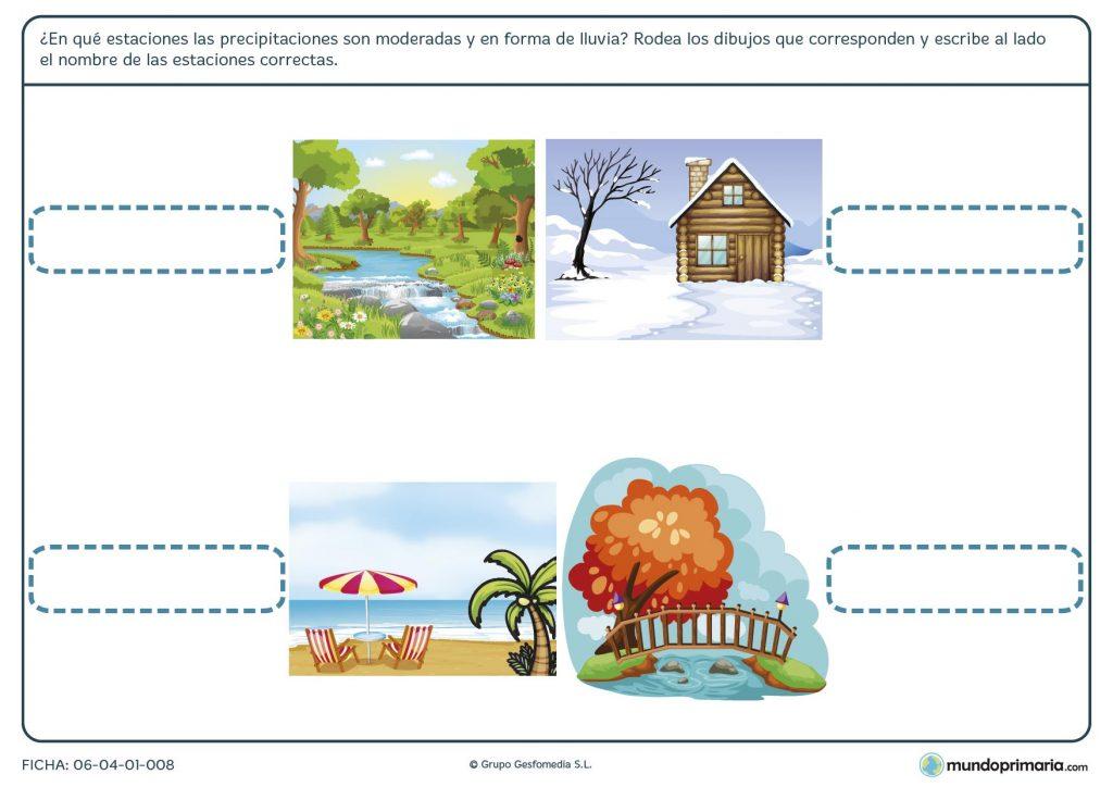 Ficha de las estaciones y el clima para primaria