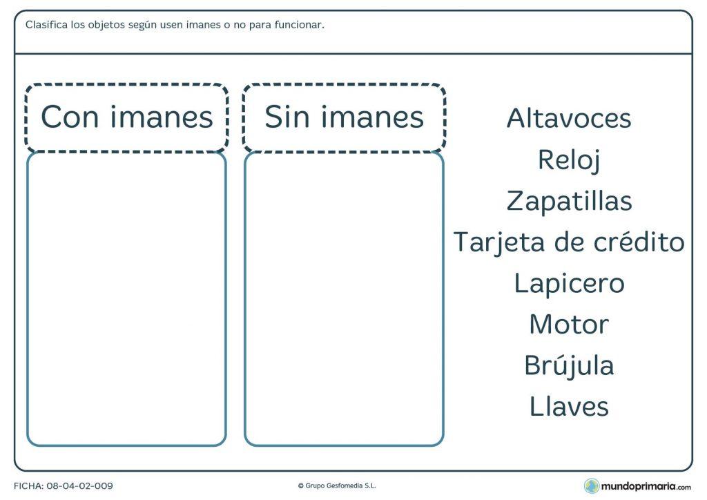 Ficha de materia y energía sobre los imanes