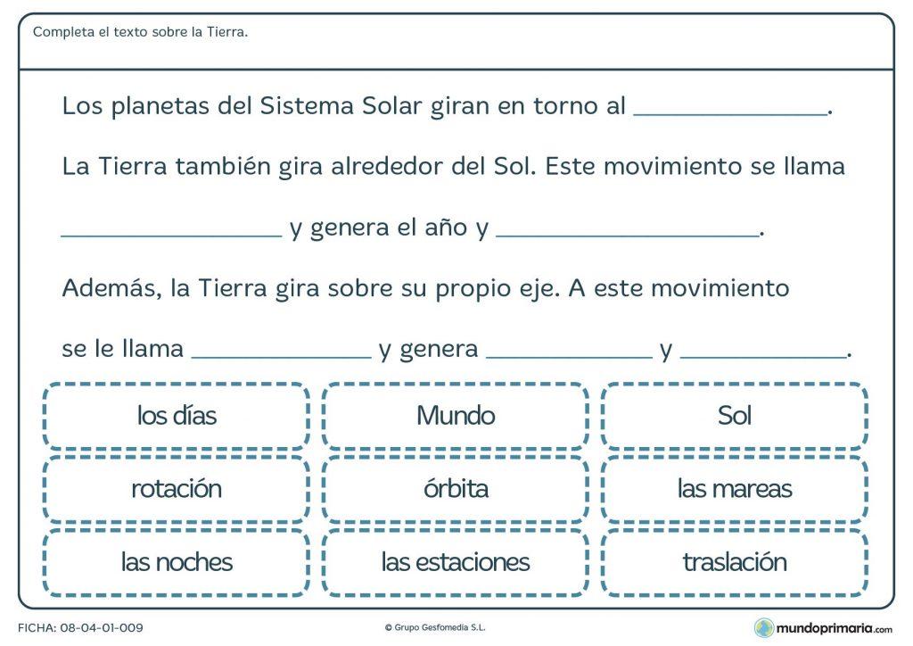 Ficha de el planeta tierra para primaria