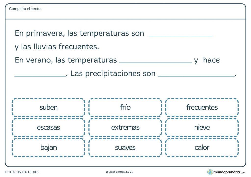 Ficha de primavera y verano para primaria