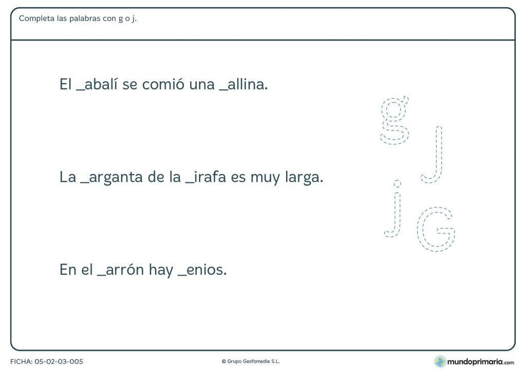 Ficha de terminar las palabras con las letras j o g para Primaria