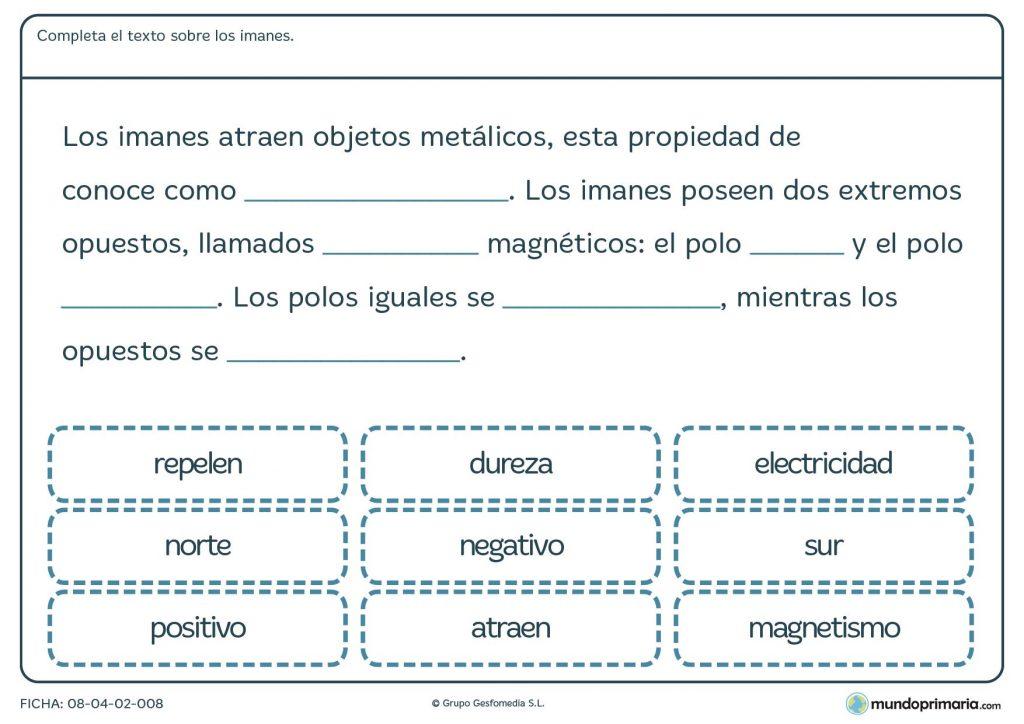 Ficha de texto sobre los imanes para primaria