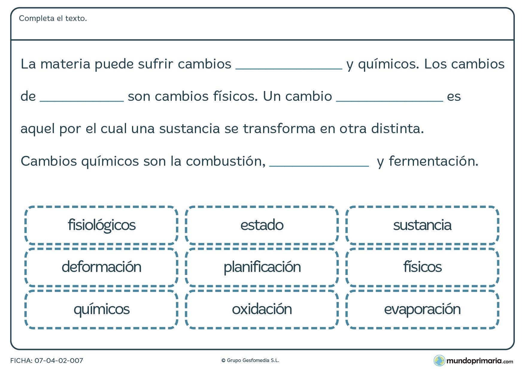 Ficha de terminar el texto sobre materia y energía
