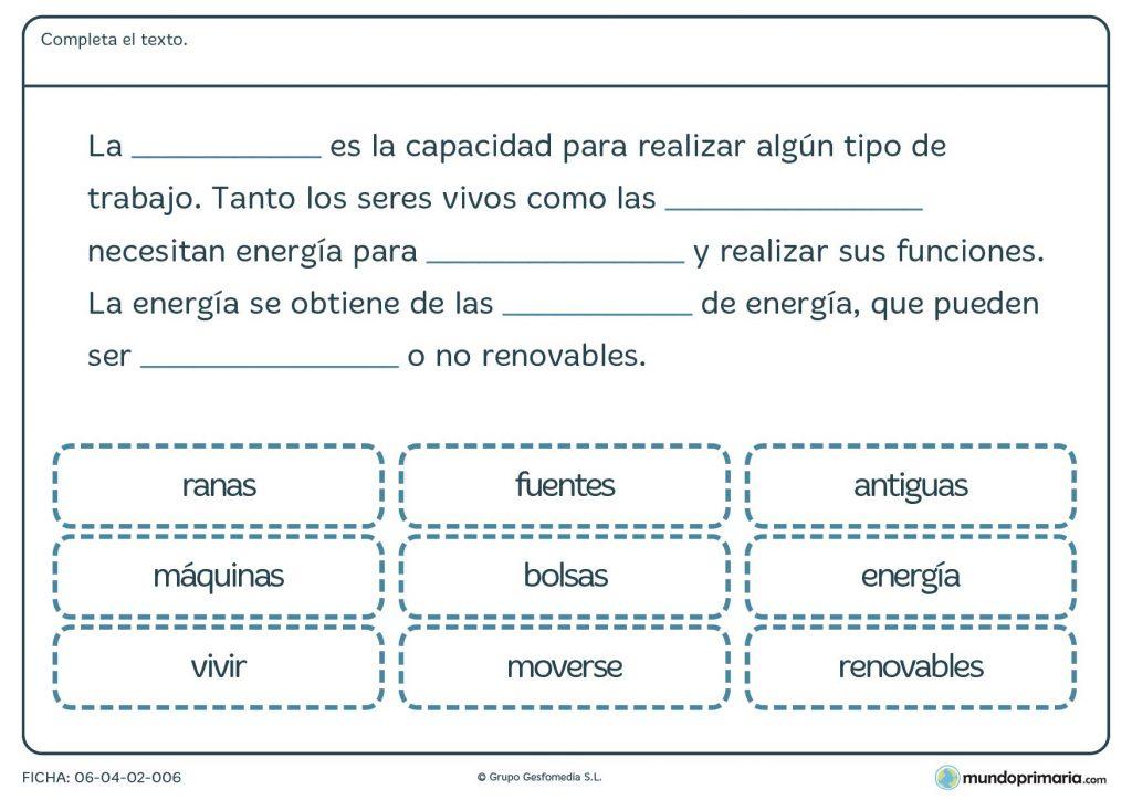 Ficha de completar el texto sobre materia y energía