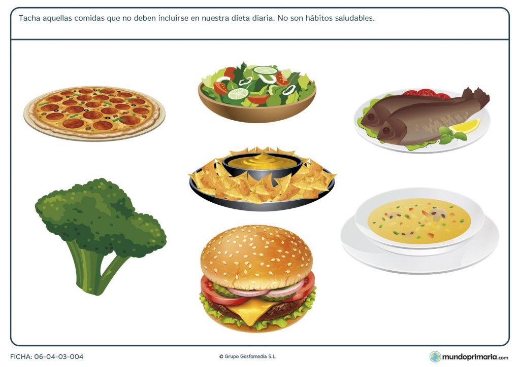 Ficha de tipos de comida para primaria