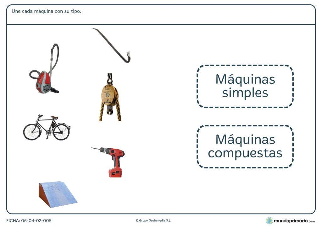 Ficha para unir cada máquina con su tipo para primaria