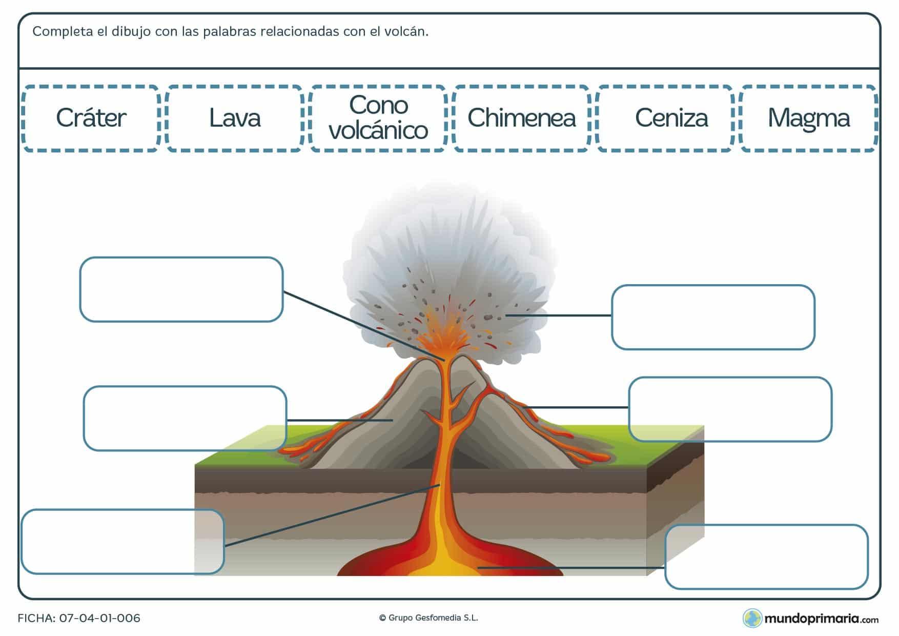 Ficha de un dibujo de un volcán para completar
