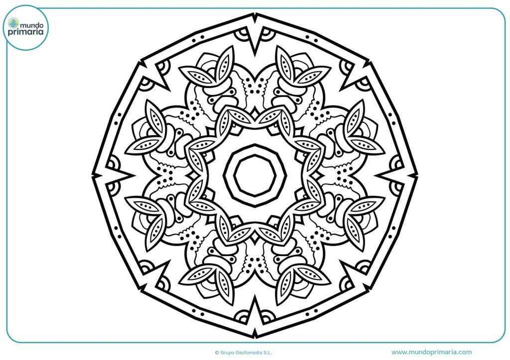 Mandala con distintas formas para colorear