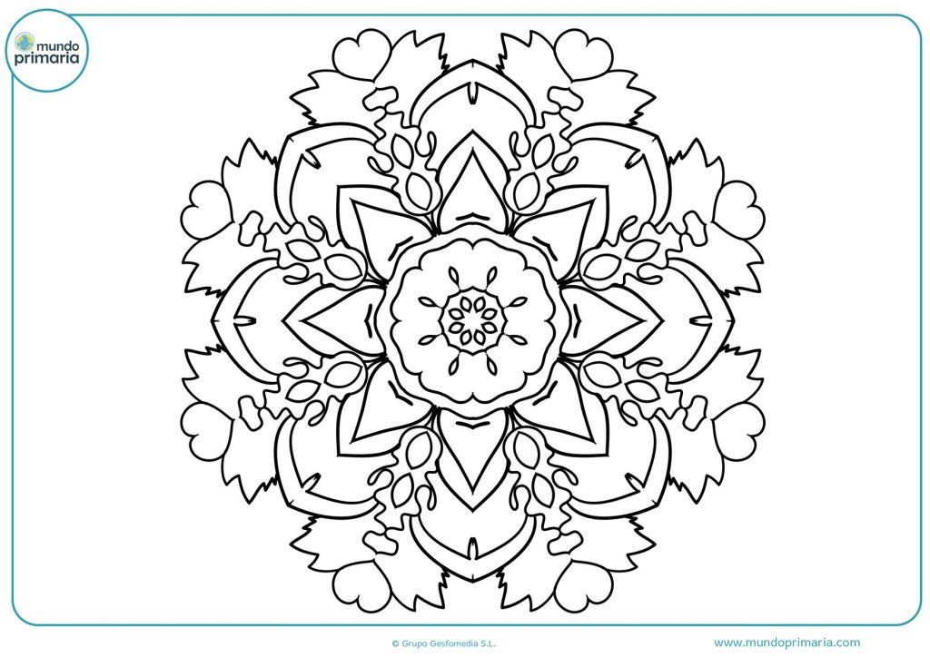 Mandala de flores y corazones