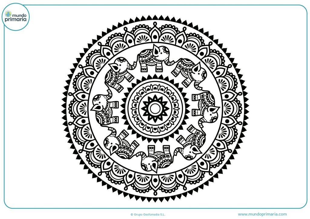 Mandala de elefantes para imprimir