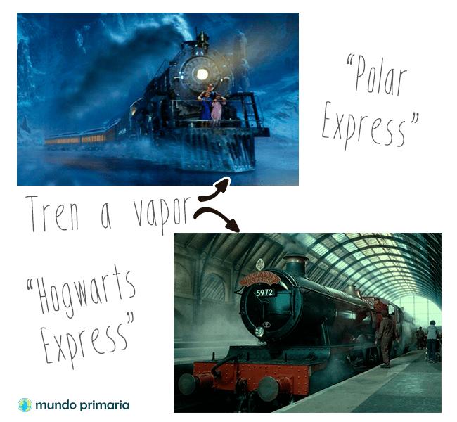 Tren a vapor como el Polar Express y el Hogwarts Express