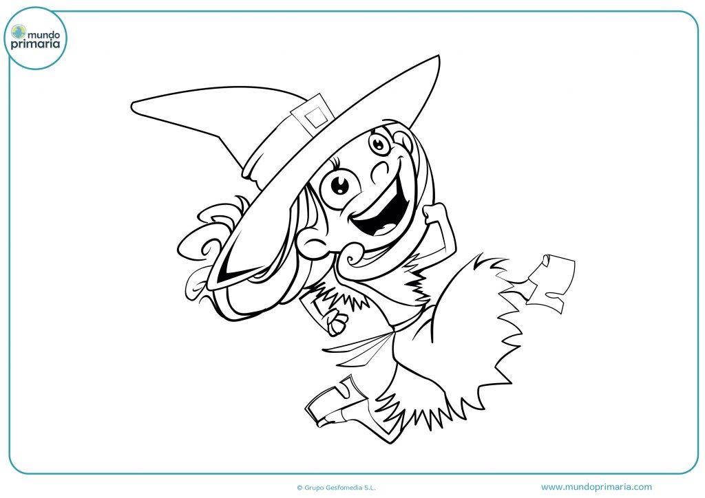 Dibujo bruja feliz para Halloween