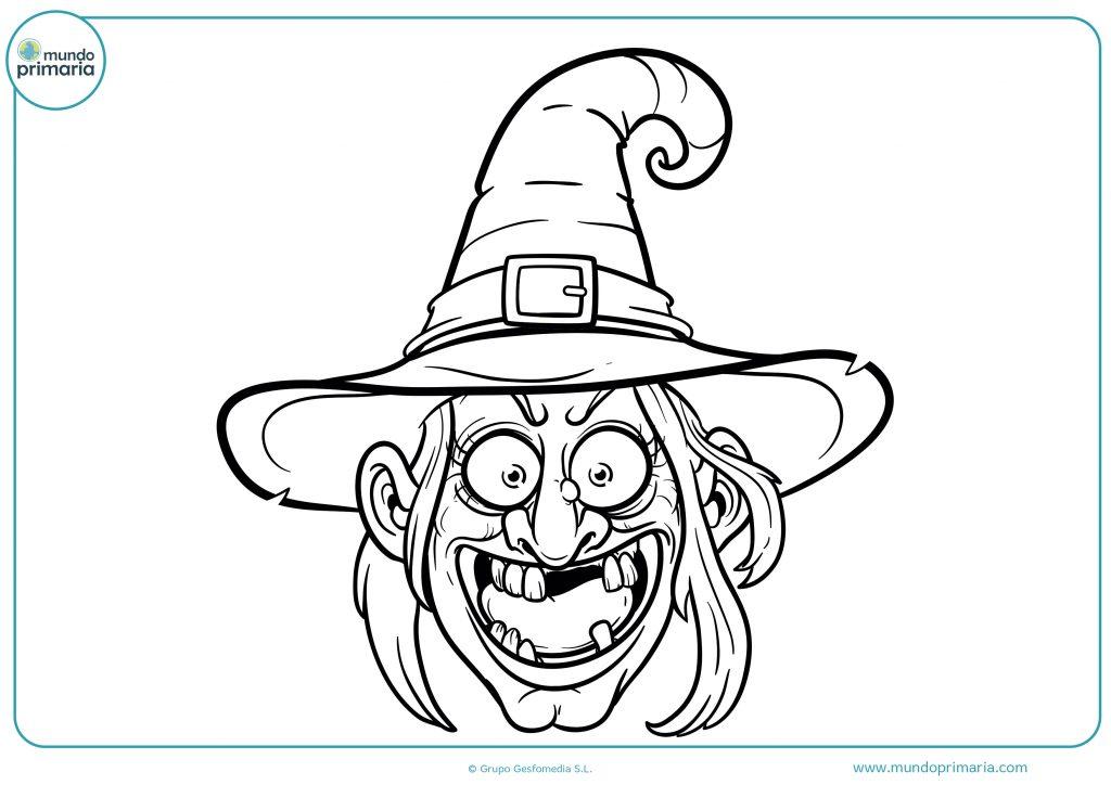 Dibujo cara de bruja para Halloween