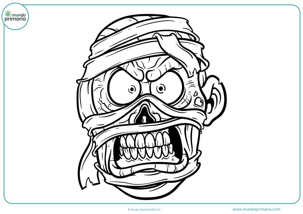 Dibujo cara momia de Halloween
