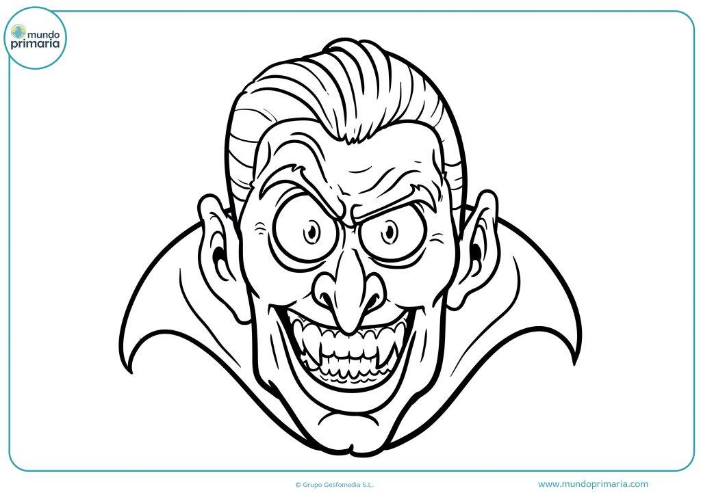 Dibujo cara vampiro de Halloween