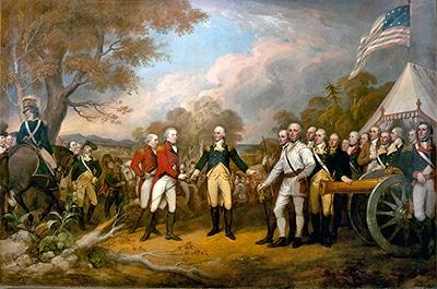 Pintura de la batalla de Saratoga en América