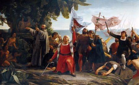 Imagen del primer desembarco de Cristobal Colón en América en el año de 1862