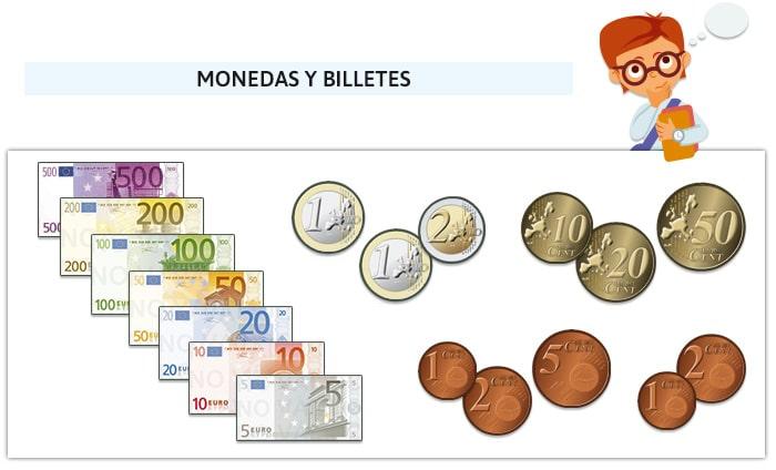 Juego de monedas de billetes de euro