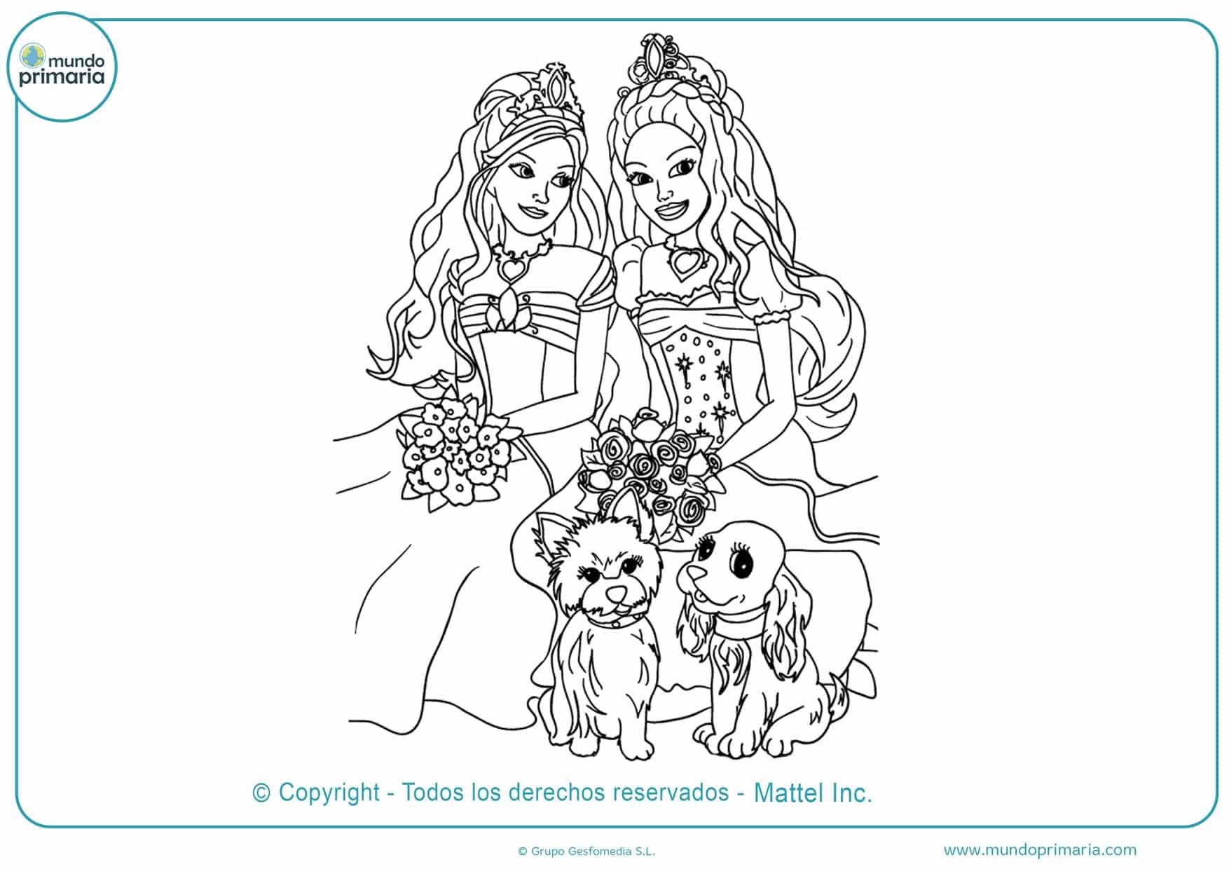 Dibujos de colorear de barbie y mascotas