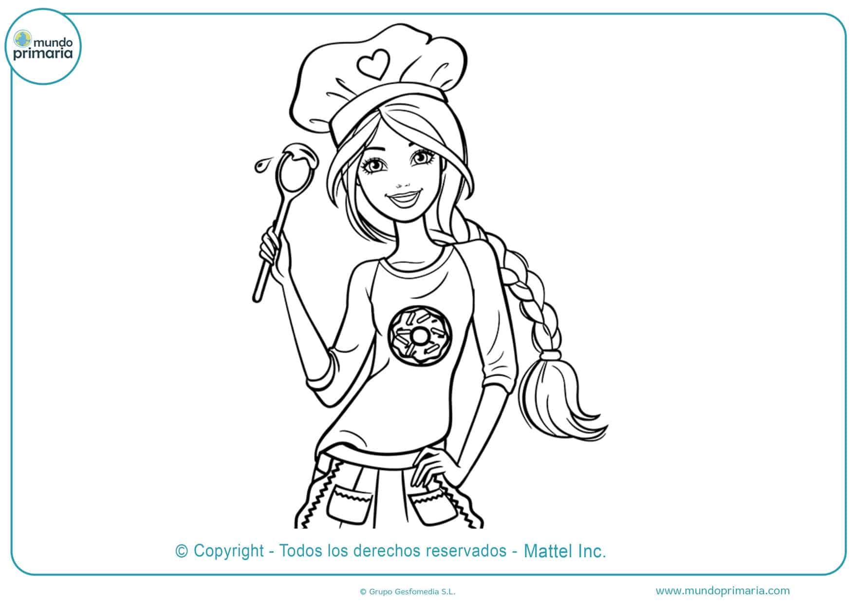 Dibujos barbie chef colorear