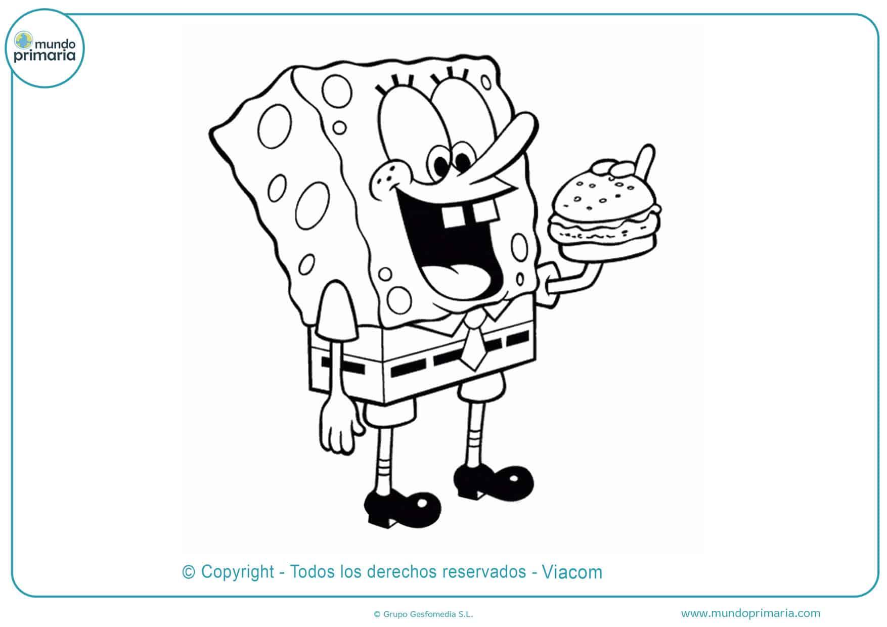 dibujos de bob esponja y cangeburger para colorear
