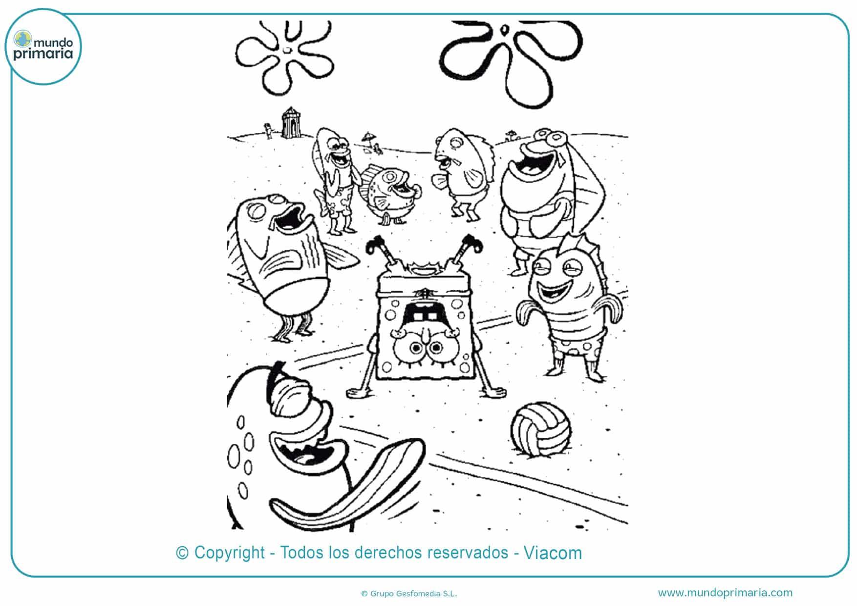 dibujos para colorear de bob esponja y sus amigos