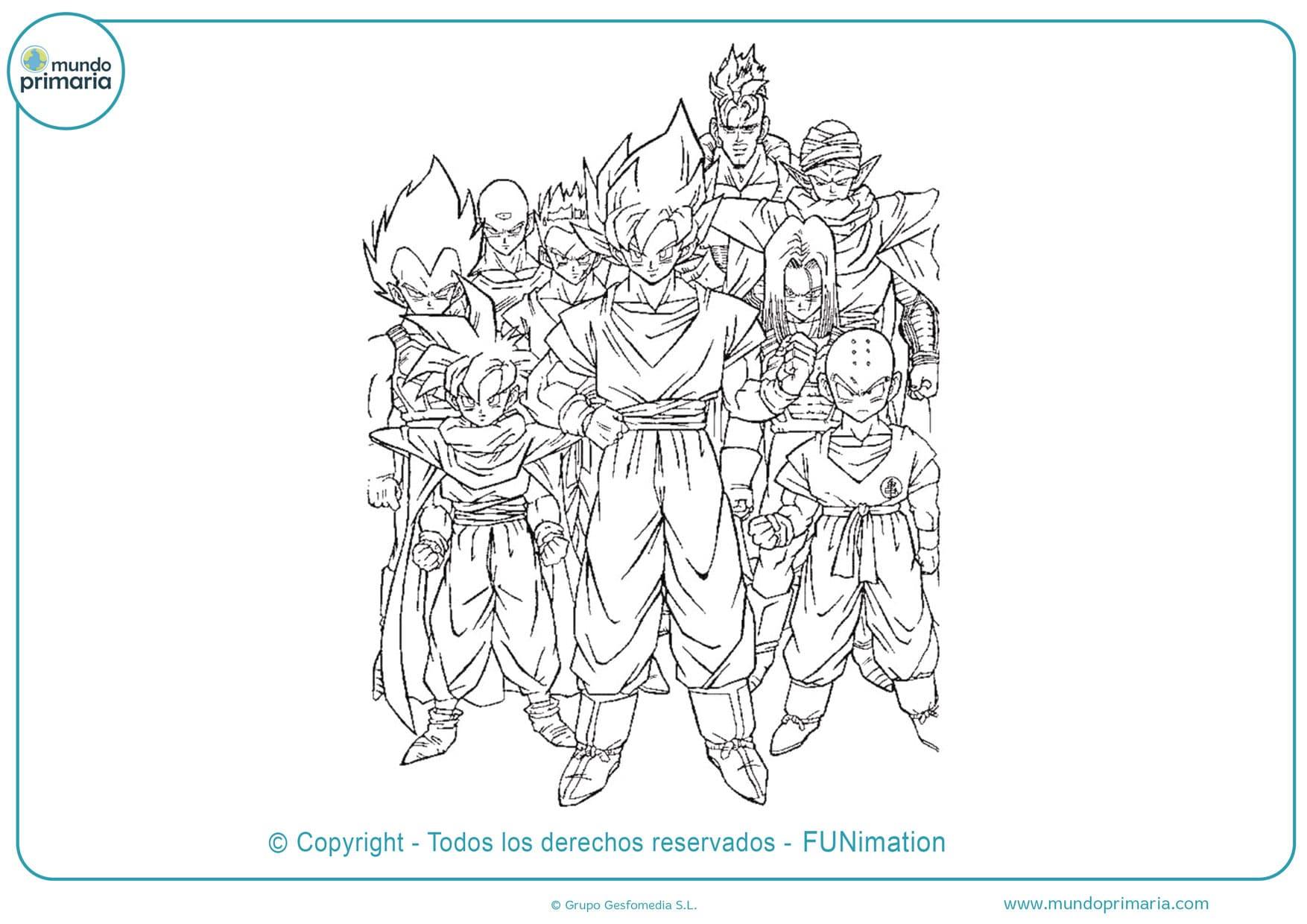 dibujos de colorear de dragon ball z