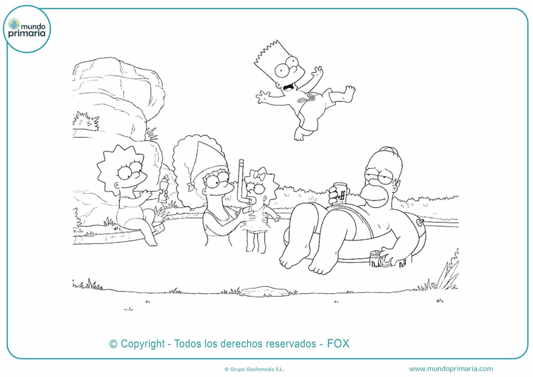 dibujos de la familia simpson en vacaciones para colorear