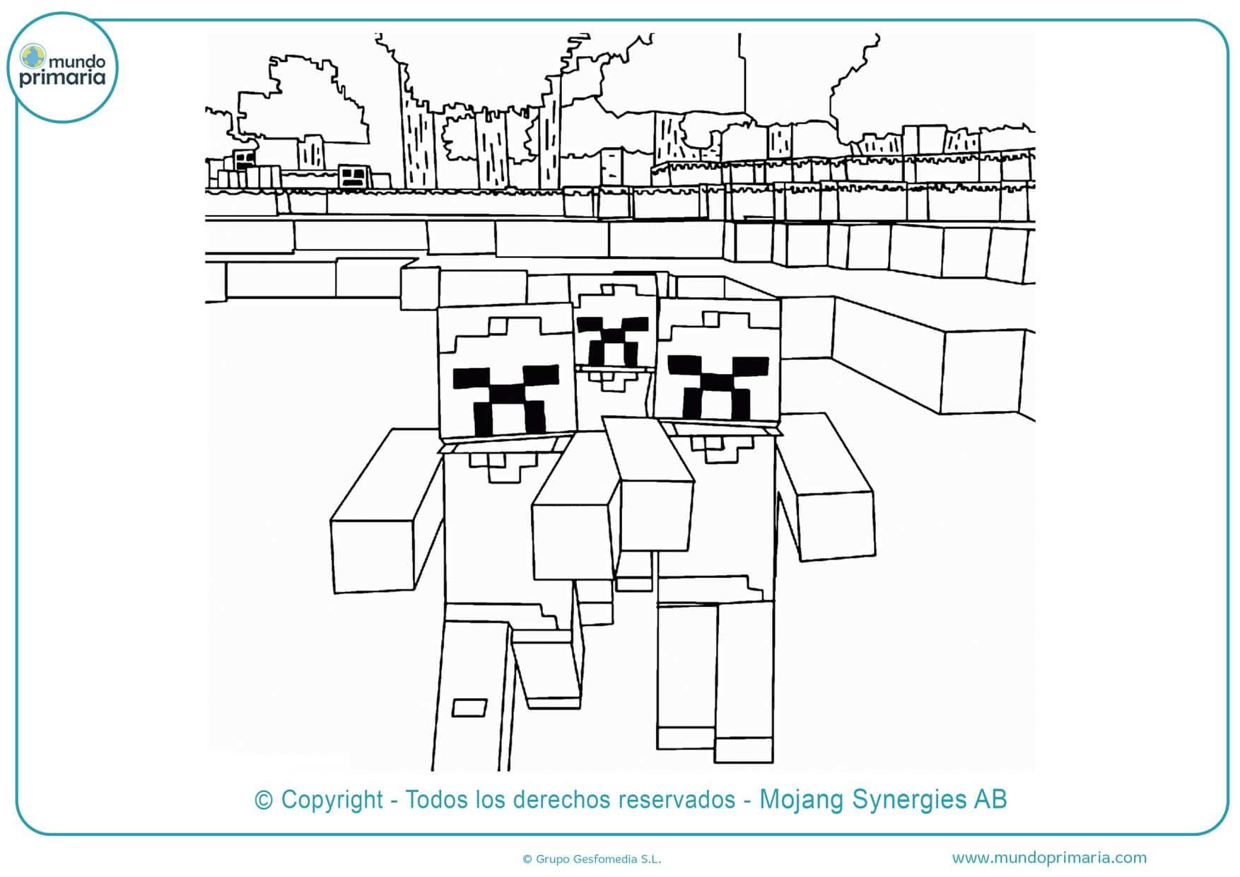 dibujos de minecraft para colorear zombie