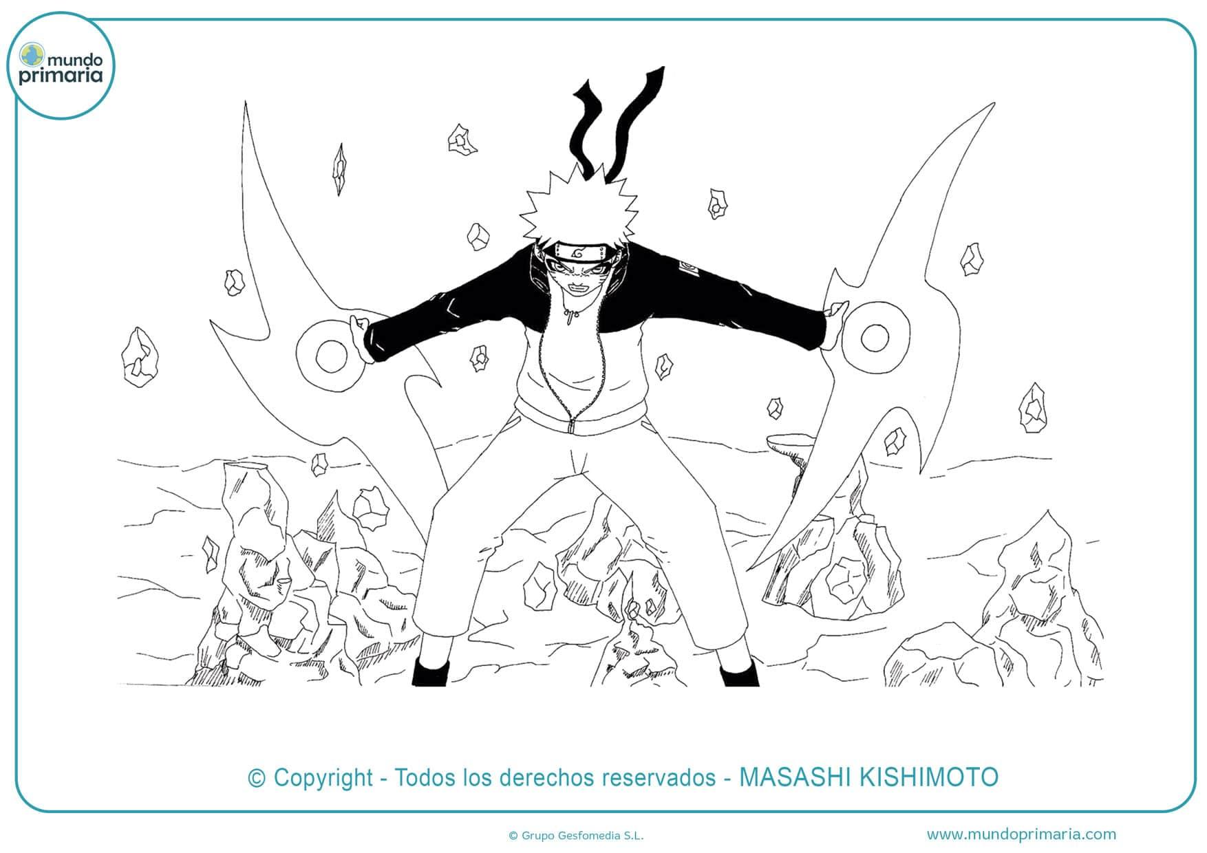 dibujos de naruto kyubi para colorear