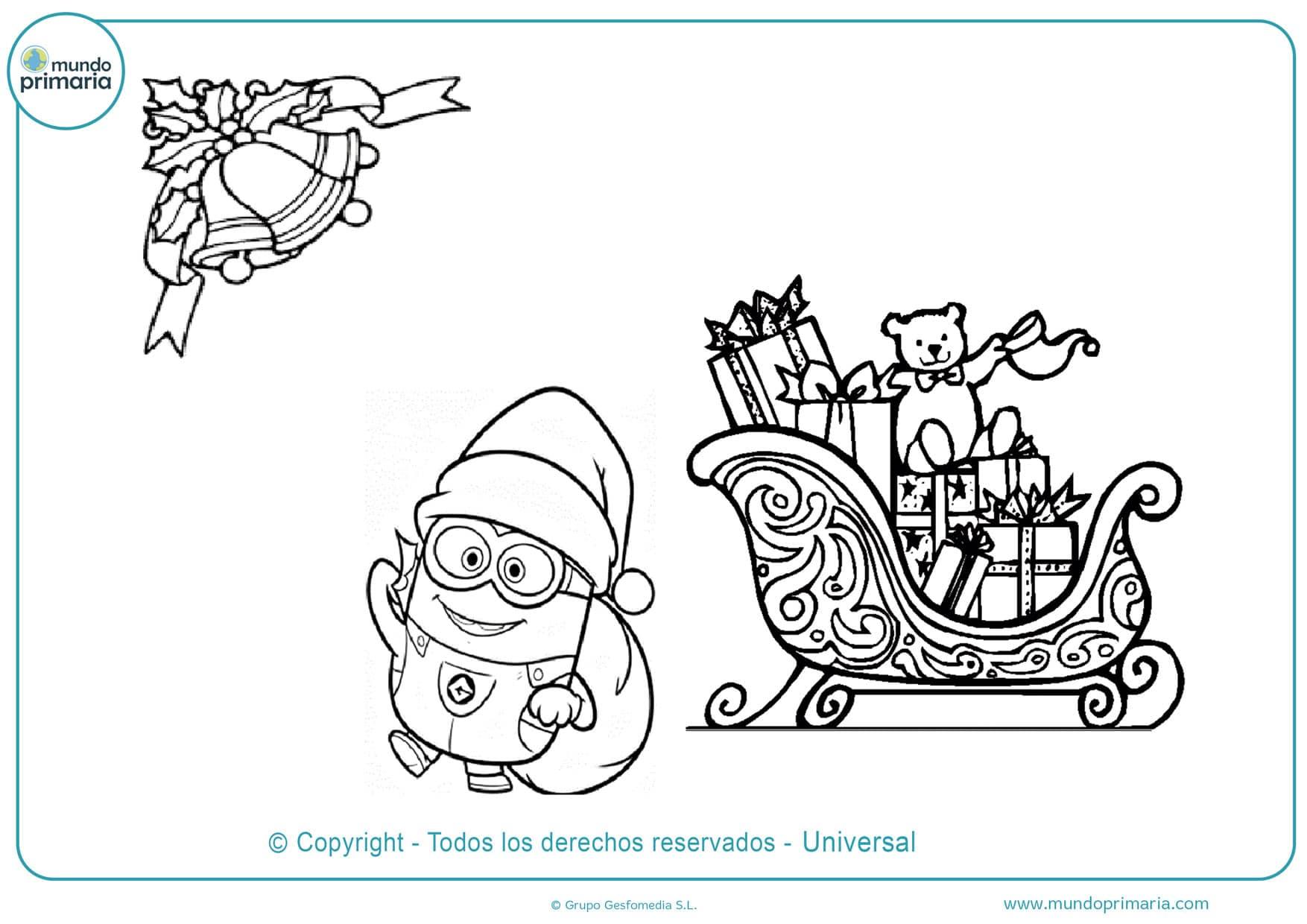 dibujos de navidad de los minions para colorear