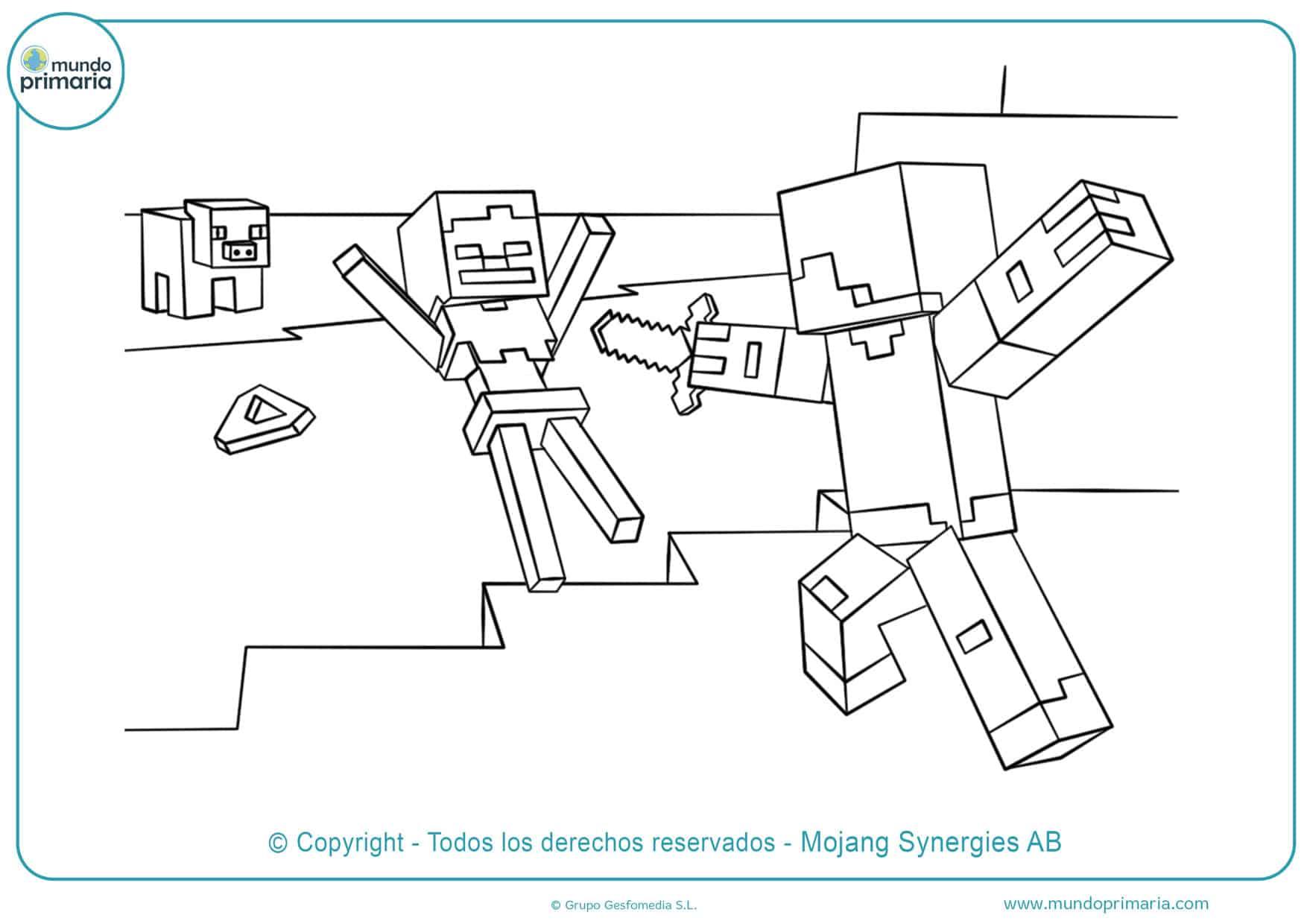 dibujos para colorear de minecraft espada