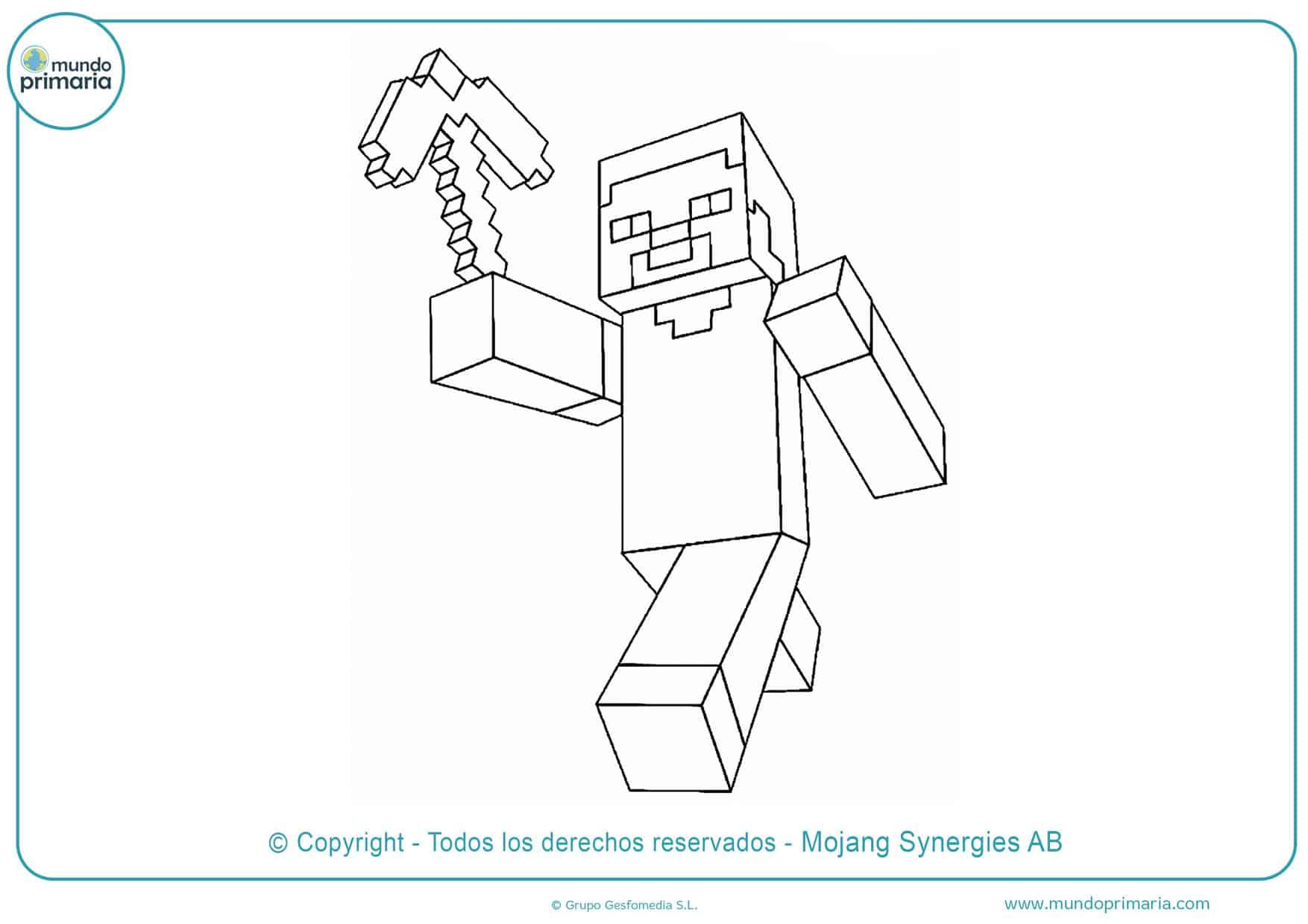 dibujos para colorear de minecraft herobrine