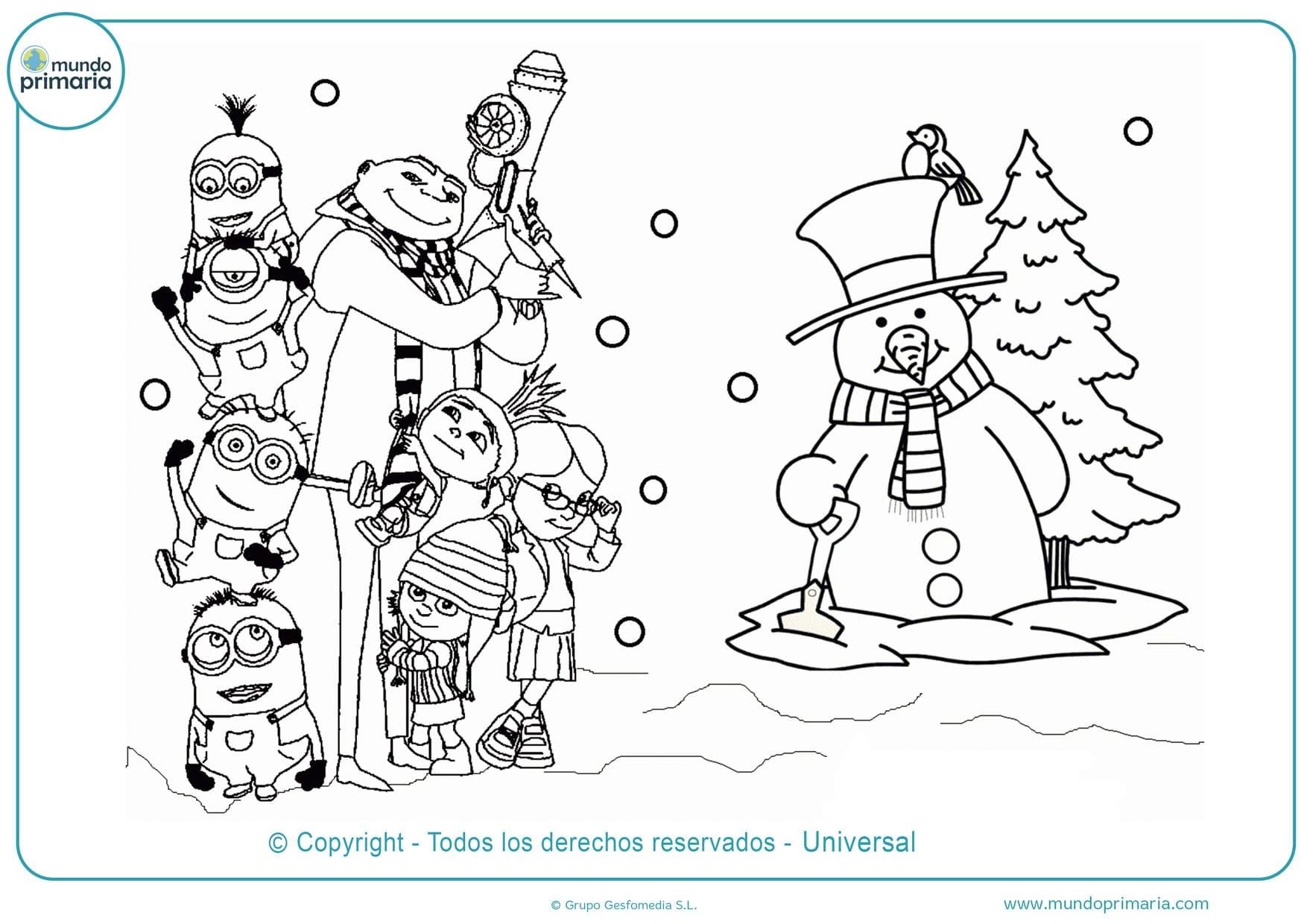 dibujos para colorear de minions de navidad