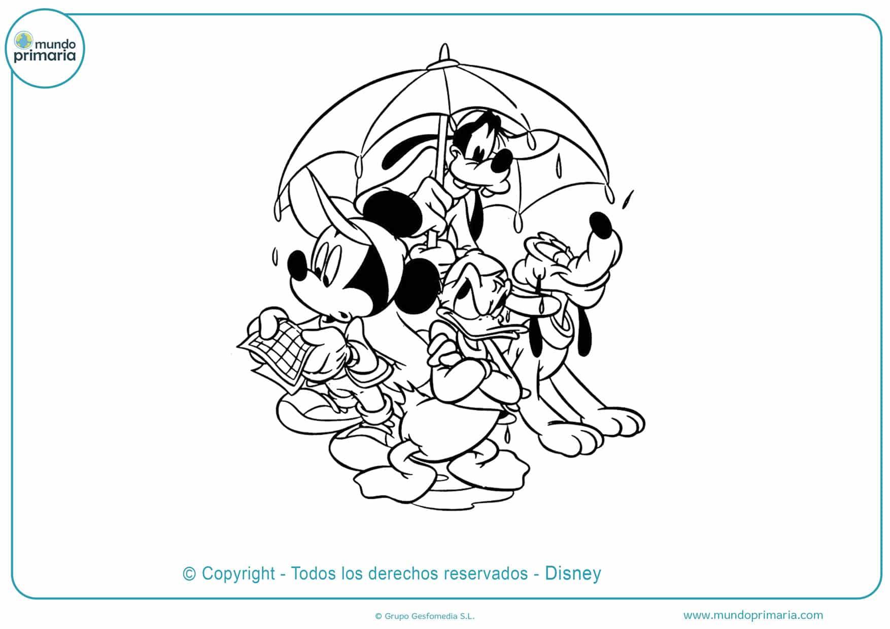 dibujos para pintar de mickey mouse y sus amigos