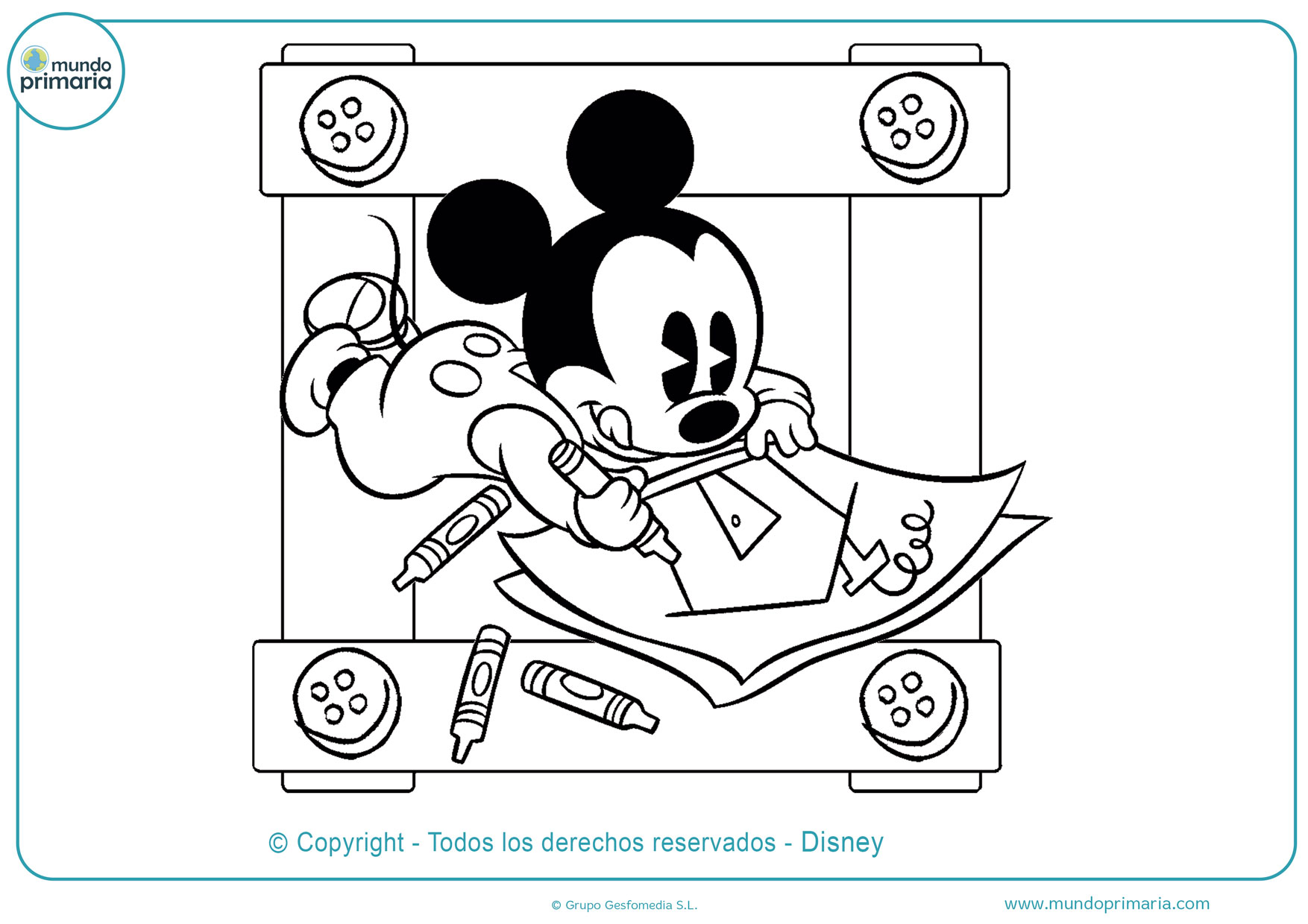 dibujos para pintar de mickey mouse bebe