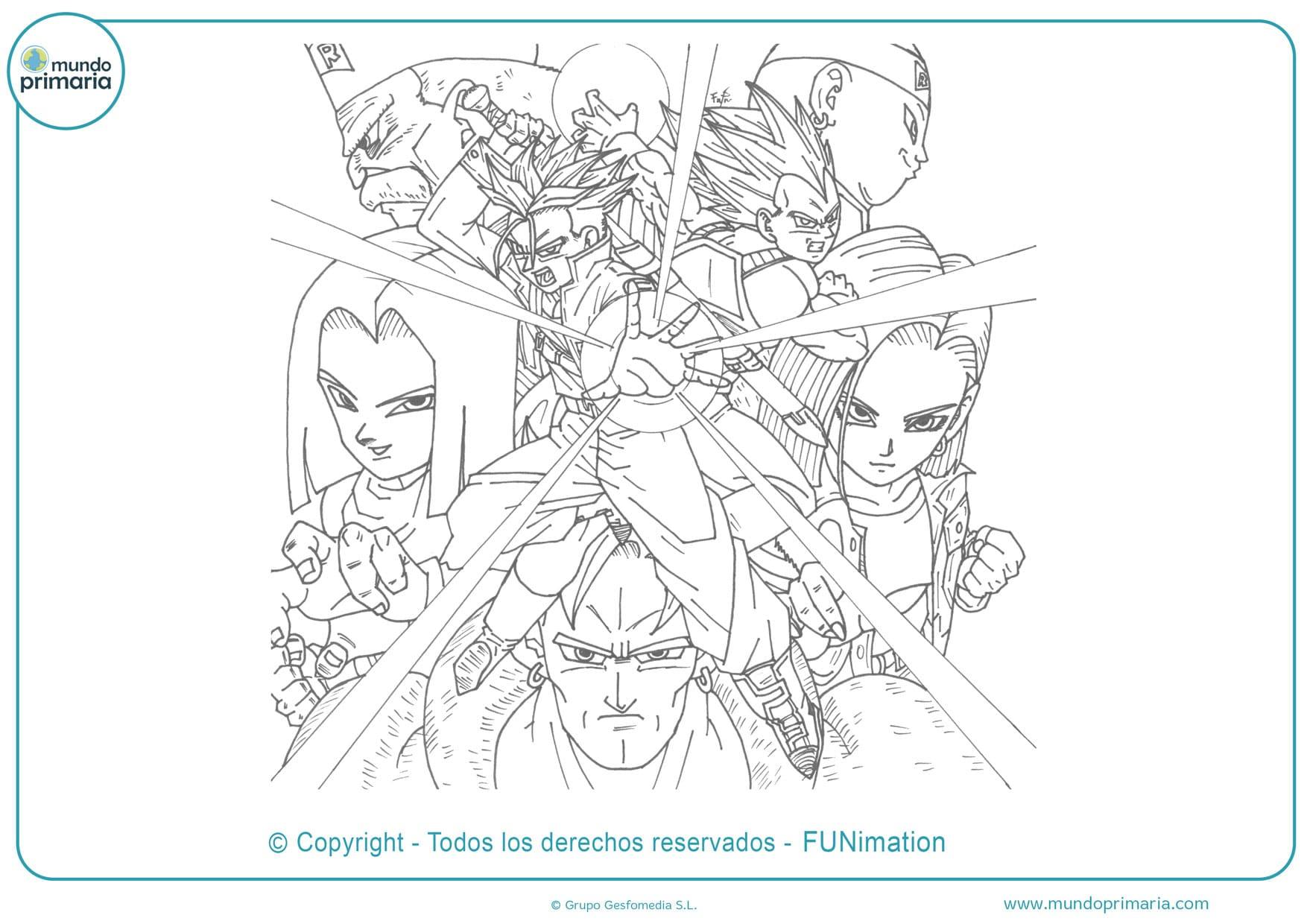 dragon ball androides dibujos para colorear